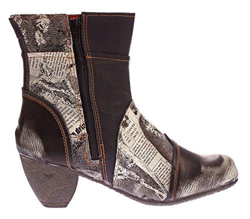Damen Stiefeletten TMA 8911 echt Leder Stiefel Muster variieren Comfort Schuhe Boots Gr. 36-42 Schwarz