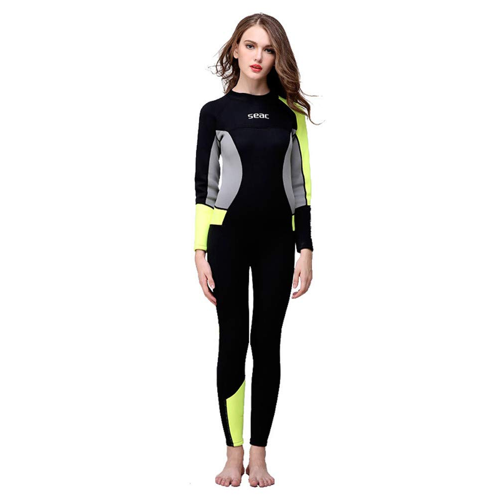 Seaintheson Women's Wetsuits Jumpsuit Neoprene 3/2mm Sunblock Full Body Diving Suit Scuba Diving Surfing Swimming Swimwear (Black, M)