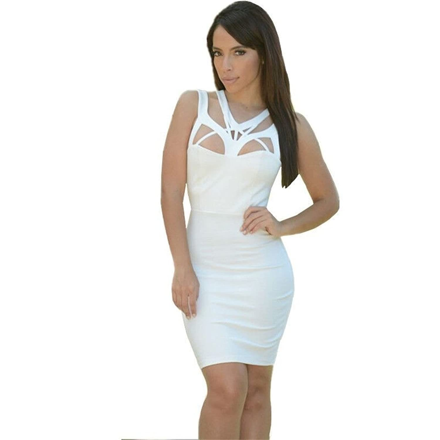 Women's Sexy Cut Out Chest Off-the-shoulder Sleeveless Bodycon Dress