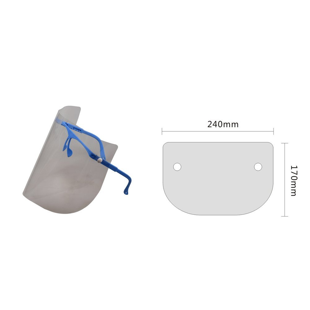 Easyinsmile Dental Detachable Full Face Shield with 10 Plastic Protective Film