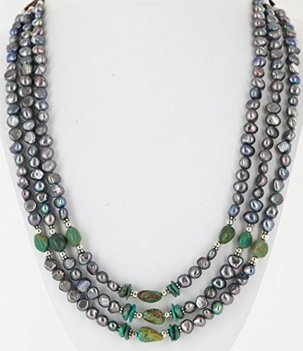 $460 Retail Tag Large Authentic 3 Strand Made by Charlene Little Navajo Silver Natural Turquoise Fresh Water Pearl Native American Necklace (Turquoise Three Strand Necklace)