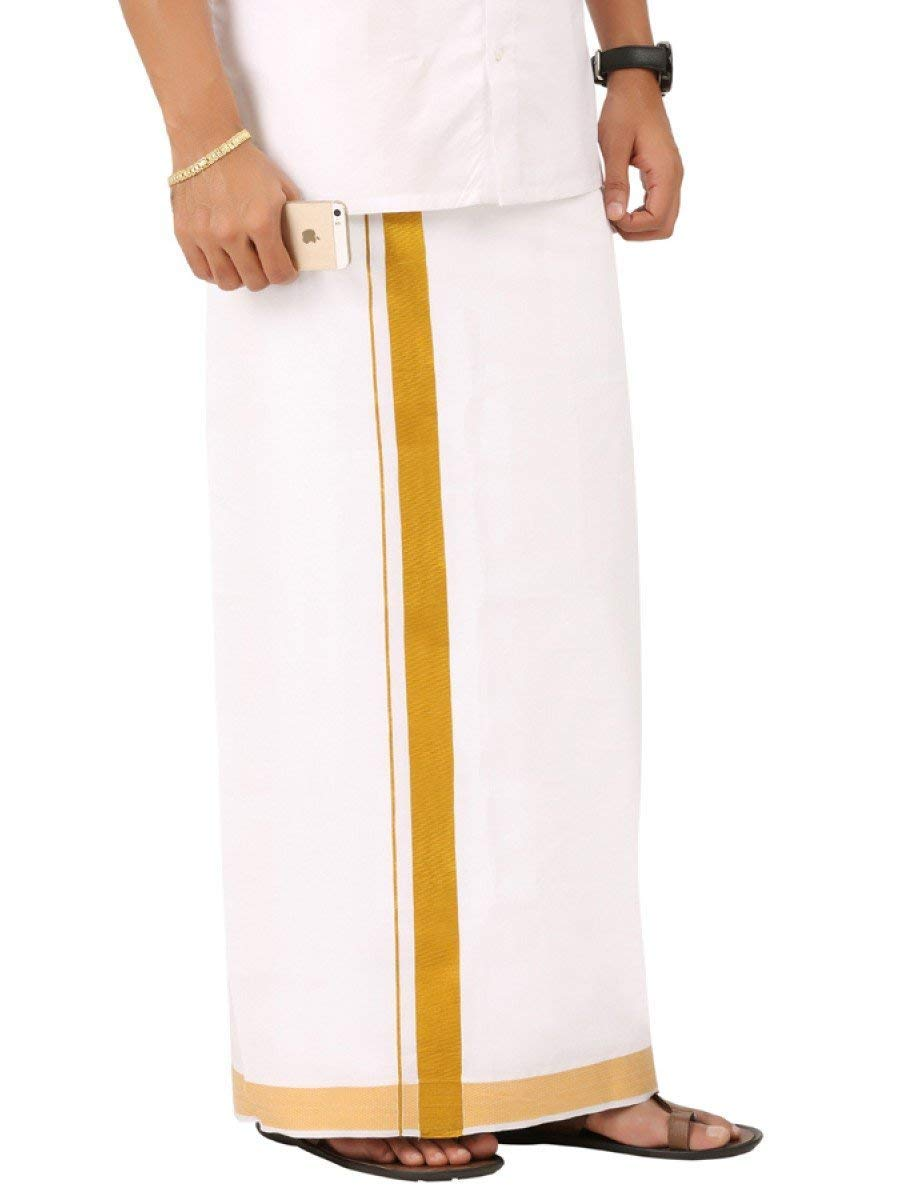 Panche Per Fast Food.Shopcus Men S Soft Cotton Kasavu Double Pattu Mundu Golden Border
