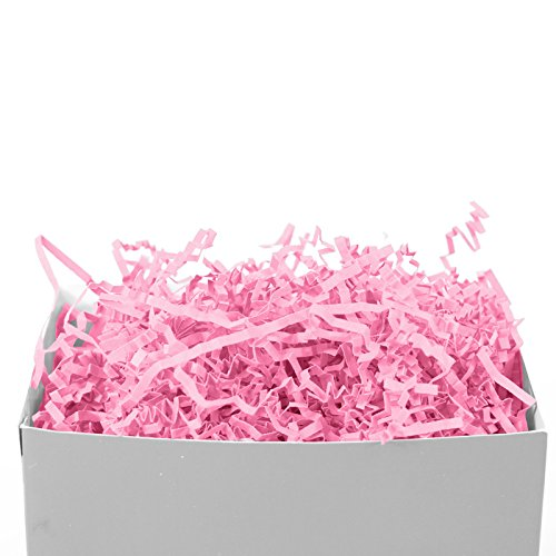 Pink Crinkle Paper Shred for gift box filler or kraft , Crinkle Cut Paper Shred Filler for Gift Wrapping & Basket Filling, Perfect for Stuffing Gift Bags (Pink) ()
