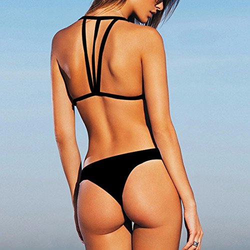 QIYUN.Z Trajes De Baño De Playa De Verano Mujeres Sujetando Sujetador 2 Piezas Bikini Establece Negro/Azul/Rojo SW032-Negro