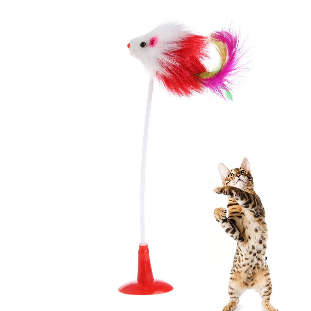 Delight eShop Funny Pet Feather False Mouse Bottom Sucker Cat Kitten Playing Scratch Toy New