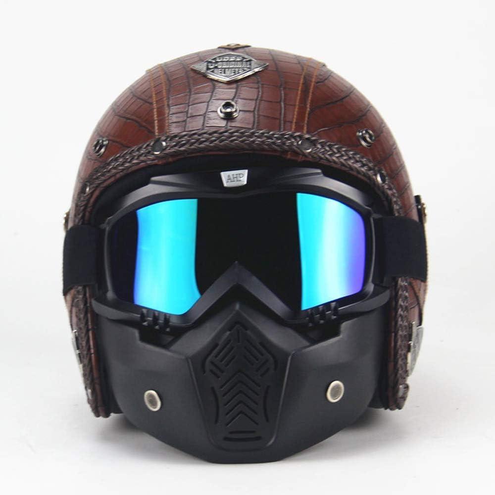 MRDEER - Casco de moto de piel sintética hecho a mano con textura de cocodrilo, unisex, cara completa, con forro extraíble, visera, máscara, gafas, para adultos hombres y mujeres, marrón, M dljyy