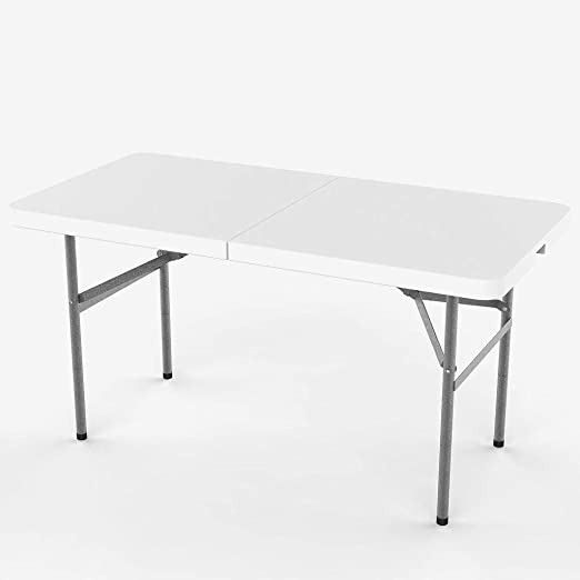 Todeco - Mesa de Plástico Resistente, Mesa Plegable Portátil, 124 x 61 cm, Blanco, Plegable por la Mitad, Material: HDPE, Carga máxima: 100 kg: Amazon.es: Jardín