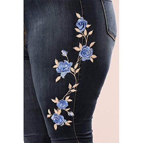 Straight Flora Pantalon Leg Womens Femme Butt Jeans Stretch Blue High Embroidered Lift Skinny Classic Blue Zhhlaixing 8nPvw