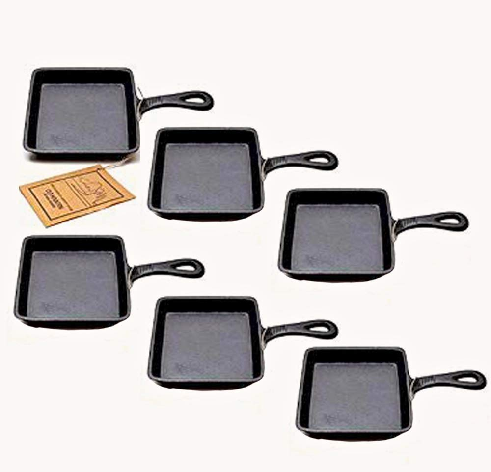 Old Mountain Square Single Serve Cast Iron Skillet - Preseasoned Set of 6