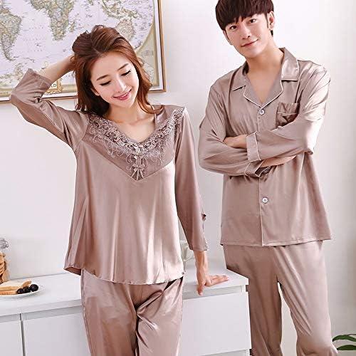 ンパジャマ 女性のシルクパジャマセット2ピーススーツのカップル長袖のパジャマは、シンメンズパジャママルベリーシルク部屋着を設定します。 -4561
