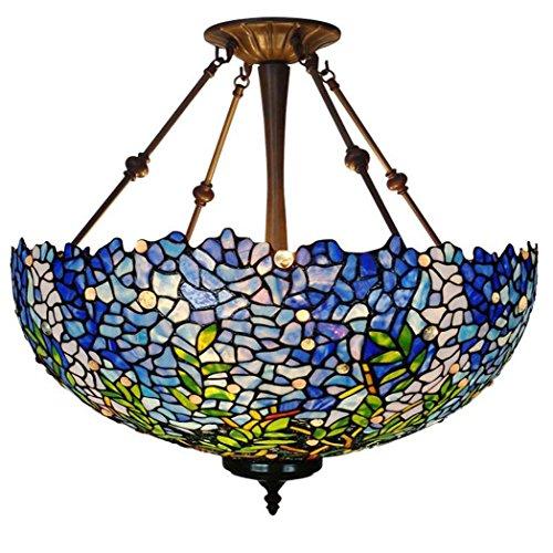 - Tiffany Style Pendant Lamp, 20-inch Wisteria Design Glass Pendant Lights, Living Room Dining Room Living Room Balcony Chandelier
