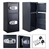 Digital Safe Depository Drop Box Black Double Door Opens With Secret PIN ...