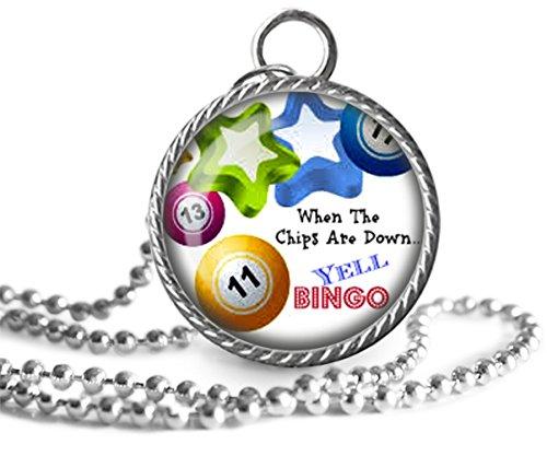 (Bingo Necklace, Bingo Lovers Yell Bingo Image Pendant Handmade )