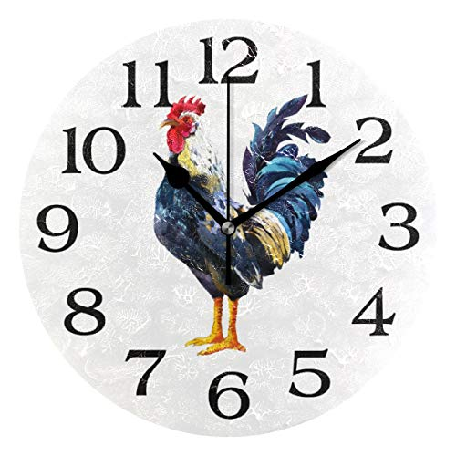 (Linomo Animal Rooster Chicken Cock Wall Clock Decor, Silent Non Ticking Round Clock Quiet for Kitchen Living Room Bedroom Bathroom Office)