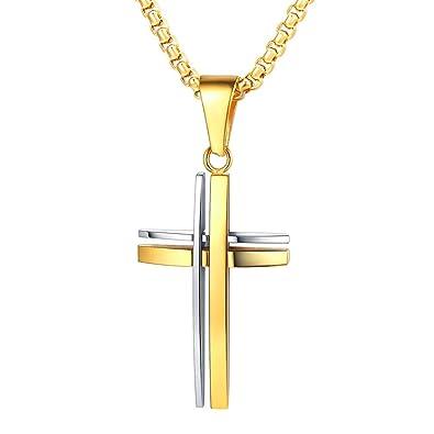 FaithHeart Bijoux Chrétien Pendentif à Croix Bicolore-Croix composé par 3  Clous-Croix à e00771f9cd17