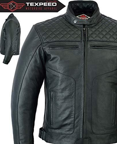 Texpeed - Motorradjacke mit Protektoren - Leder mit Rautensteppung - Schwarz - Alle Größen