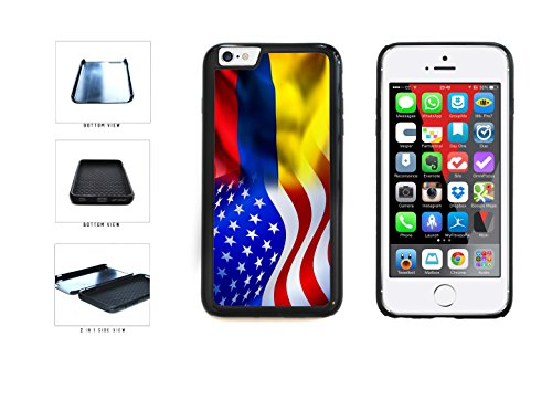 Colombia And USA Mixed Flag Dual Layer Phone Case Back Cover Apple iPhone 6 6s (4.7 inches screen) includes BleuReign(TM) Cloth and Warranty Label