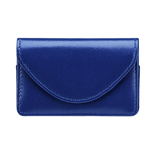 - FYY Handmade Premium Genuine Leather Business Name Card Case Universal Card Holder with Magnetic Closure (Hold 30 pics of Cards) Navy Blue