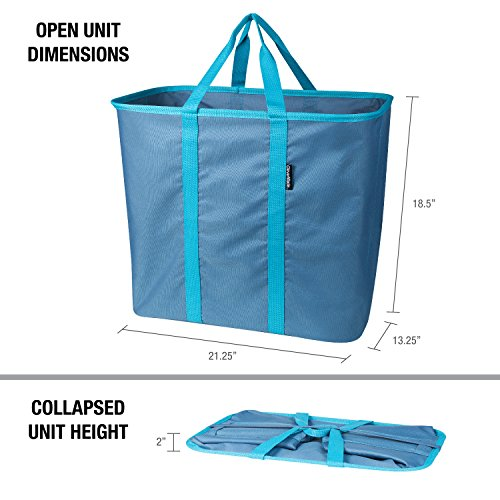 CleverMade Collapsible Laundry Basket, Large Foldable Clothes Hamper Bag, SnapBasket LaundryCaddy CarryAll Pop Up Storage Tote, Blue/Dusty Teal by CleverMade (Image #1)