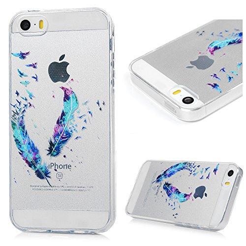 Kasos Coque iPhone 5 5S SE, Coque Housse Case Bumper Étui de Protection en TPU Silicone Gel Souple Flexible Ultra Slim Mince Antichoc Motif Plume