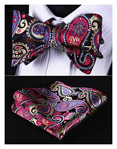 (Enmain Men's Paisley Floral Bowtie Jacquard Woven Party Self Bow Tie Set Red/Blue)