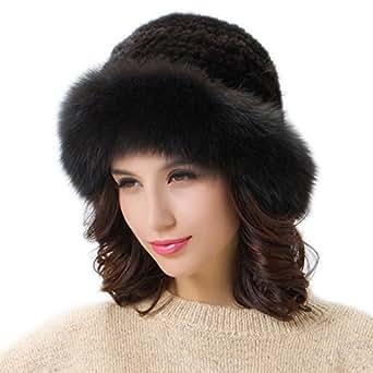 FURTALK Women's Fur Winter Brim Hat Genuine Mink Fur Hats