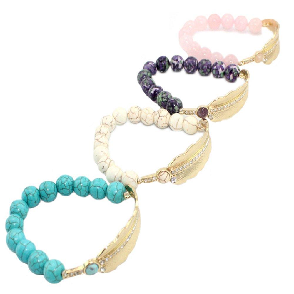 D.B.MOOD Bracelets Bangles for Girls Womens Natural Stone String Colorful Beads Leaves Bracelets