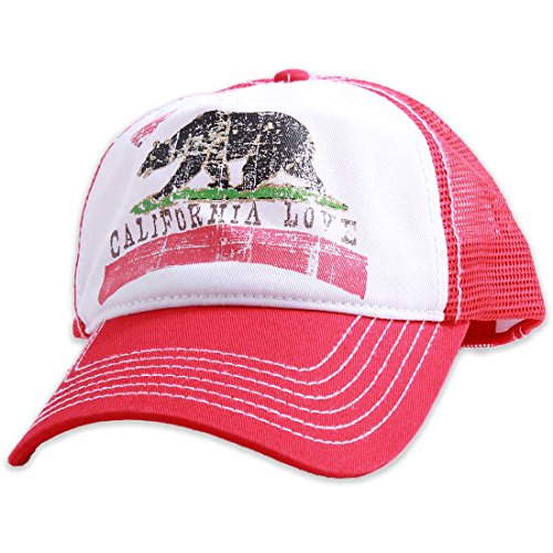California Love Distressed Youth Pit Stop Twill Trucker Hat - Red by Dolphin Shirt Co