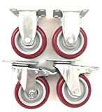 4 inch (Set of 4, with 2 BrakeSwivel and 2 Fixed Casters) Poly Tread - Sealed Bearing Wheels