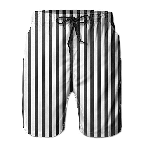 XIYX Black Stripes Men's Fashion Fit Summer Shorts Swim Trun