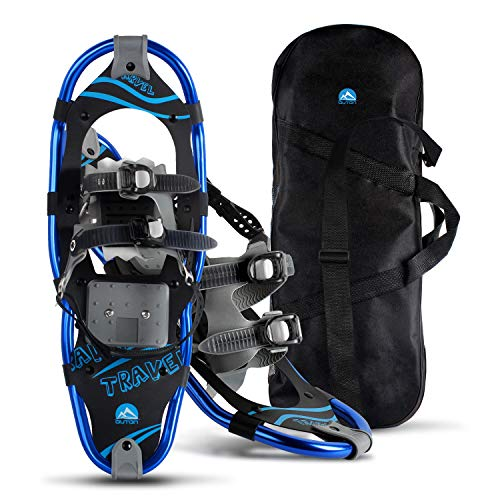 OUTON 21/25/30 Inches Light Weight Snowshoes for Women Men Youth Kids, Aluminum Terrain Snow Shoes with Carrying Tote Bag(21'')