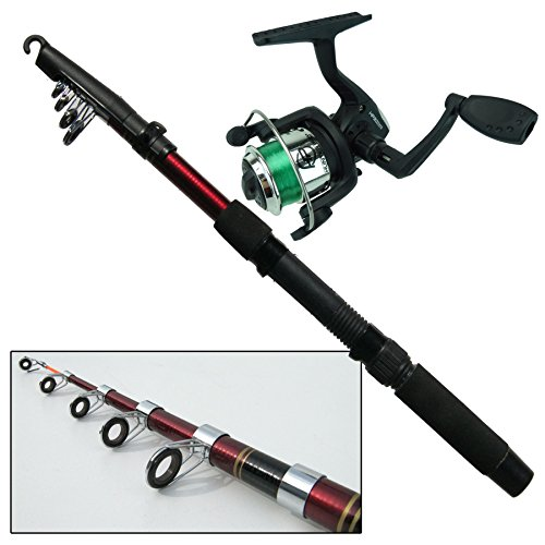 BEGINNERS CHILDRENS FISHING ROD & REEL SET KIT WITH LINE. TRAVEL FISHING...