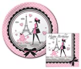 Party in Paris Happy Birthday Lunch Napkins & Dinner Plates Party Kit for 8