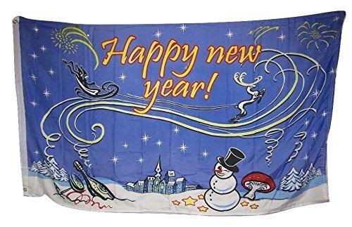 3x5 Happy New Year Winter Snow Snowman Wine Shroom Rough Tex