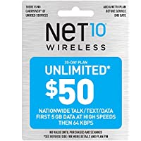 Tracfone Wireless NET10 Net Card - $50 Unlimited Mins, Text & Data for 30 Access Days