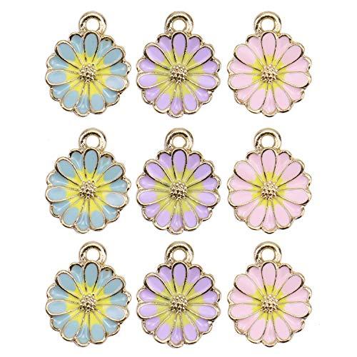 (Monrocco 30Pcs Enamel Flower Charms Chrysanthemum Flowers Charms Pendants for Jewelry Making Bracelet Necklace)