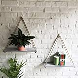 ASLINY Distressed Wood Hanging Swing Rope Floating Shelves (Crevices Surface – White)
