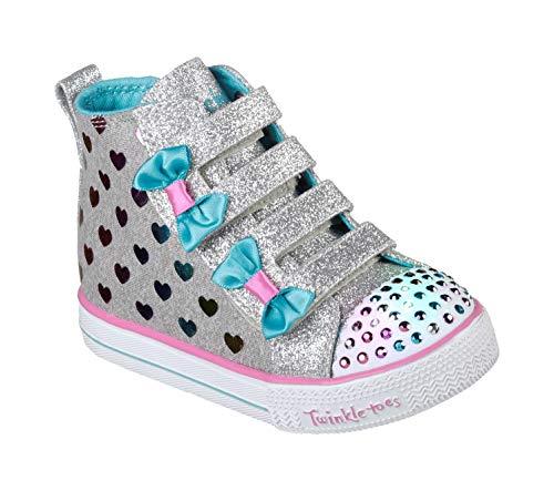 Fancy Kids Wear (Skechers Kids Girls' Shuffle LITE-Fancy Flutters Sneaker, Gray/Multi, 5 Medium US)