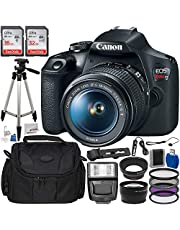 Canon EOS Rebel T7 DSLR Camera with 18-55mm EF-S f/3.5-5.6 is II Lens & Accessory Bundle – Includes: SanDisk 16GB & 32GB SDHC Memory Cards + Wide Angle Lens + Telephoto Lens + Slave Flash + More