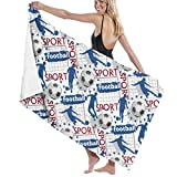 PCU6FRPJ Football Wallpaper Sport Pattern Luxury Beach Towels,Super Soft Hotel Bath Towels for Gym,Spa,Swimming,Surf,Yoga