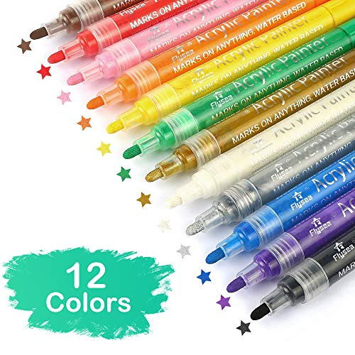 barsone Acrylic Paint Marker Pens Set of 12 Colors for Rocks Painting, Ceramic, Glass, Wood, Fabric, Canvas, Mugs, Photo Album, DIY Craft, Scrap booking Craft, Card Making (12 Colors)