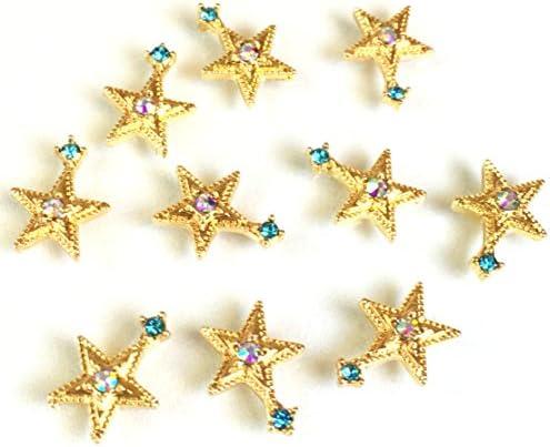 宇宙ビジュー 8個 お星さま 銀河の宝石 オーロラアクアマリン ガラス付ゴールド貼付パーツ レジン封入 アクセサリーパーツ ハン