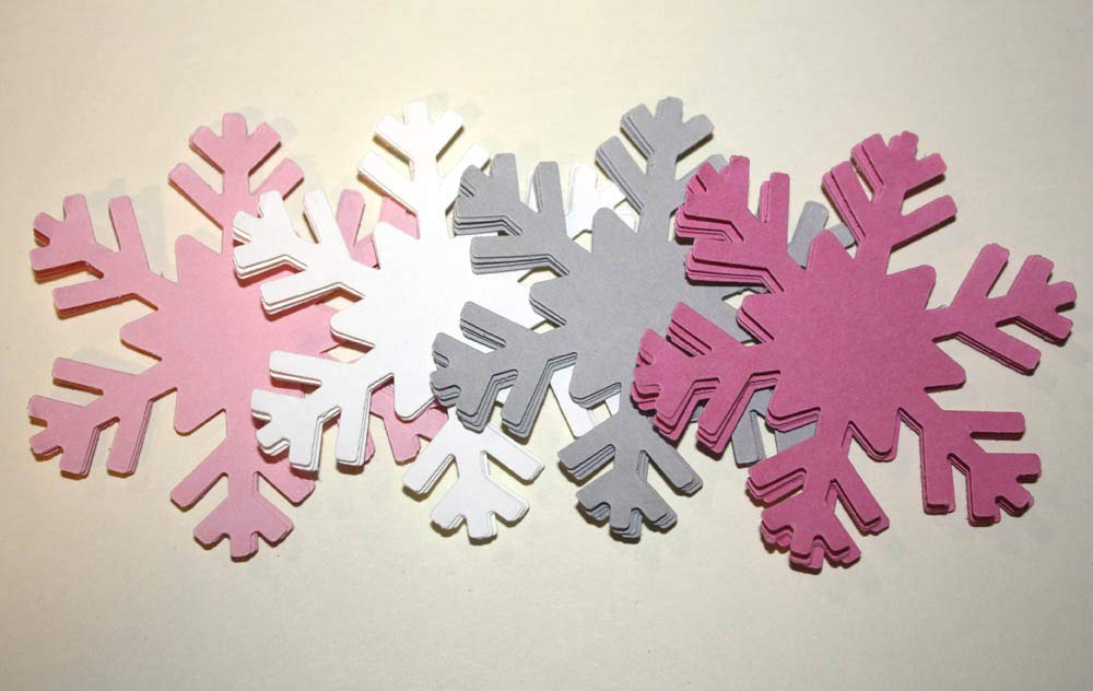 Pink Snowflake Die Cuts Winter Wonderland Party Supply 20 Count