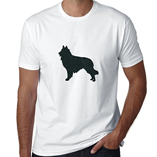 Hollywood Thread Belgian Tervuren Dog Simple Silhouette 100% Men's Cotton T-Shirt ()