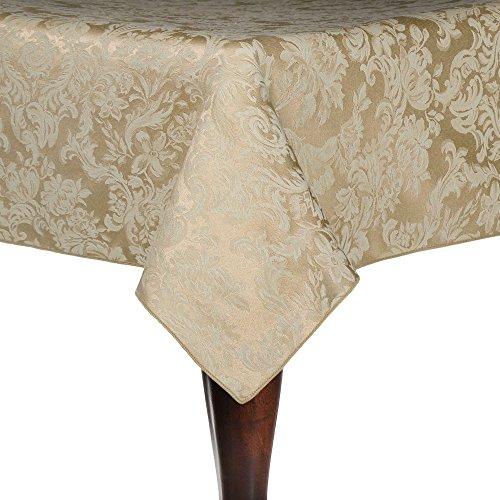(Ultimate Textile Miranda 60 x 144-Inch Rectangular Damask Tablecloth Champagne Ivory Cream)