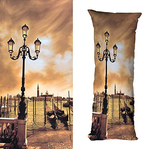 DuckBaby Extra Long Pillowcase Venice Venice Lagoon Gondolas Moored by Saint Mark Square on Grand Canals Dreamy Sky Protect The Waist W16 xL23.5 Light Brown Black