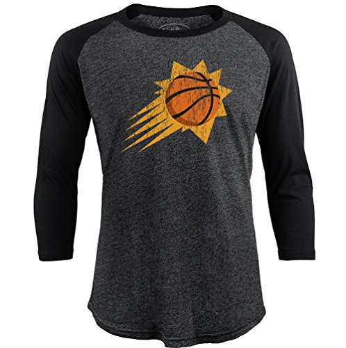 Majestic Athletic NBA Phoenix Suns Men's Premium Triblend 3/4 Sleeve Raglan, Small, Black