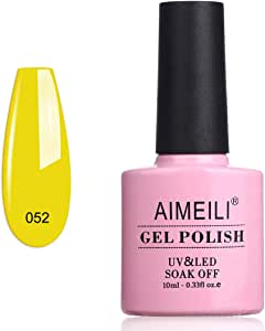 AIMEILI Soak Off UV LED Gel Nail Polish - Neon Canary Yellow (052) 10ml