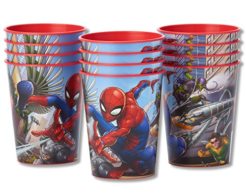 American Greetings Spider Man Party Supplies, 16 oz. Reusable Plastic Party Cup, 12-Count]()