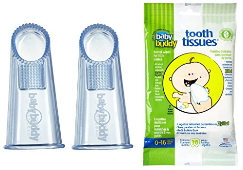 Baby Buddy Wipe-N-Brush & 30 Wipes-Innovative 6-Stage Oral Care System Grows With Your Child-Stage 3 for Babies/Toddlers-Kids Love Them Blue 2 Pack